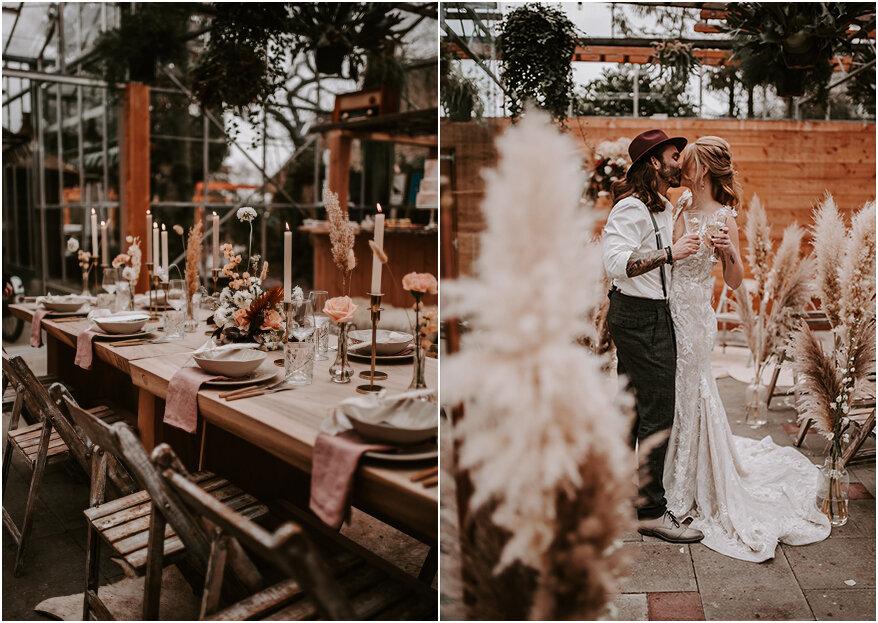 Bruiloft in de kas met een bohemian randje!