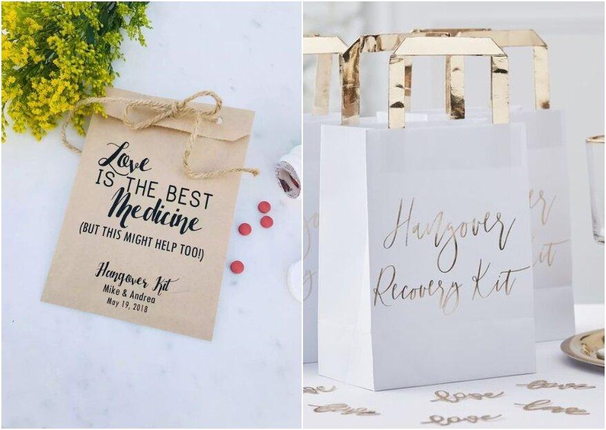 Het ultieme bedankje: een hangover kit om na de bruiloft mee te geven aan de bruiloftsgasten