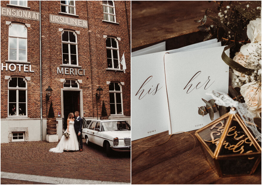 De real wedding van Patrick & Sandra met als thema rustic peach, gold & green!