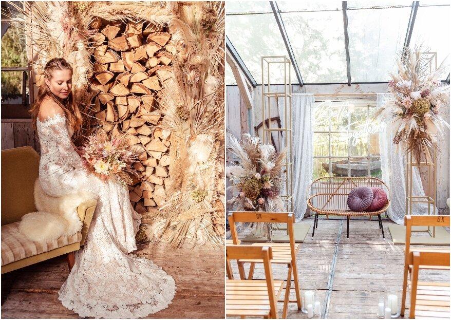 Romantisch Vintage trouwen in een tuinhuisje