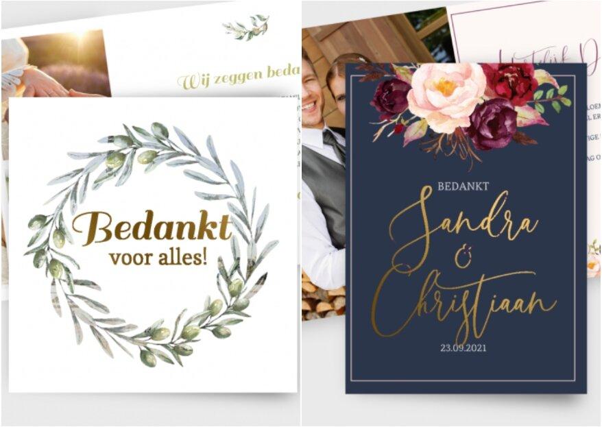 Wat zet je op het bedankkaartje na de bruiloft?